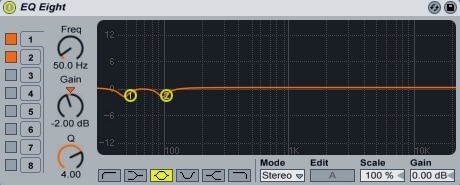 Ableton Live - EQ Eight - Showing -2dB at 50Hz and 100Hz
