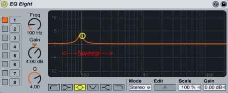 Ableton Live - EQ Eight - 4dB Boost Sweep